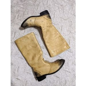Diesel Tall Distressed Two Tone Leather Boots 7.5